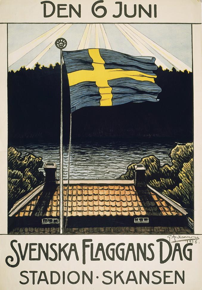 Nacionalni dan Švedske - plakat povodom prvog obeležavanja Dana švedske zastave 1916.